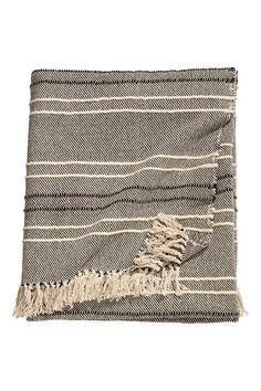 Check this out! Bedspread in a wool and cotton blend with textured-weave stripes. Fringe at short sides. - Visit hm.com to see more.