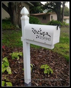 Personalized Mailbox Decal with Branch, Birds and Numbers - Vinyl Wall Art, Graphics, Lettering, Decals, Stickers