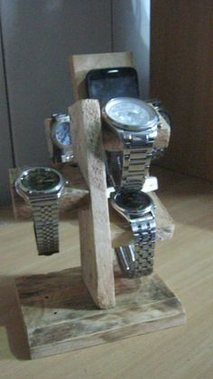 wood watch stand DIY How To Make Watch, Watch Holder, Watch Accessories, Wood Working, Wood Watch, Bottle Opener, Woodworking Projects, Barware, Coffee Maker