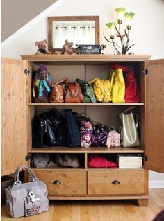 Handbag Storage In Ikea Markor TV Cabinet! I Too Had This Tv Armoire But In  Dark Wood And Didnu0027t Want To Part With It But Didnu0027t Know What To Use It  For.