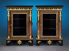 Pair of 19th-Century Boulle-Style Cabinets   From a unique collection of antique and modern cabinets at https://www.1stdibs.com/furniture/storage-case-pieces/cabinets/ Pair of 19th-Century Boulle-Style Cabinets  Offered By MS Rau Antiques  $54,500