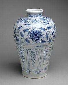 15th Century, Vietnamese Stoneware Bottle with Birds and Peonies. Cobalt Blue under Transparent Glaze.