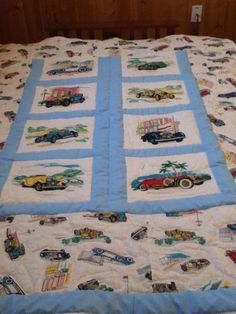 $225.99 Hand made quilt depicting old antique collectors cars. Twin size