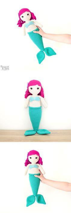 Anna the Friendly Mermaid - Crochet Pattern Yarn Needle, Needle And Thread, Half Double Crochet, Single Crochet, Pink Chalk, Cute Mermaid, Black Thread, Stitch Markers, Slip Stitch