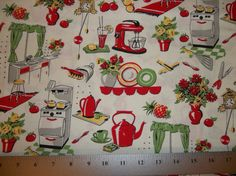 Michael Miller Retro 50's Fifties Kitchen by DeStachDepotFabrics