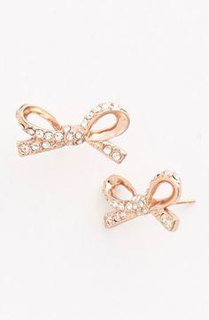 kate spade new york 'skinny mini' bow stud earrings Jewelry Box, Jewelery, Bow Earrings, Tiny Earrings, Women's Accessories, Kate Spade, Bling, Mini Bow, My Style