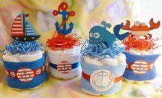 Ahoy es un chico... Tortas de pañales por mollbelldesigns en Etsy