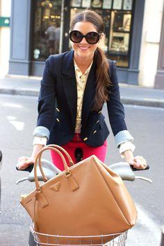 red skinnies, polka dot top, navy blazer