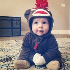 Cute baby boy sock monkey costume