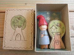 HOME is WHERE the HEART is  Gnome Peg Doll and Tree House Home Wood Toy Set
