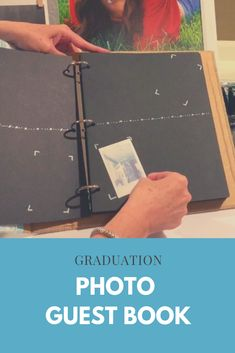 Looking for a graduation party idea?  We decided to add a photo guest book to our graduation senior table.  This is a place where guests can take an instant picture and stick it into a guest book along with a note.  My post shows how I made our photo guest book and also provides some links to some that are not DIY :)  This is a fun graduation party idea, wedding idea, birthday idea, baby shower idea, and retirement party idea!