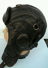 Some guys wear headpieces like this WWII vintage style leather aviator lid.