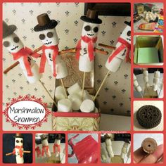 These cute marshmallow snowmen are easy enough to do that the kids can take part in the project. alwaystheholidays.com