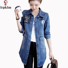Cheap jacket coat, Buy Quality denim jacket directly from China denim jacket fashion Suppliers: 2017 Spring New Arrival Women Outerwear Denim Jacket  Long Sleeve Fashion All-match Women Autumn Base Jacket Coat LZ131