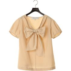 nuan+ : united bamboo / ユナイテッド バンブー:Women:SHORT SLEEVE RIBBON BLOUSE ❤ liked on Polyvore