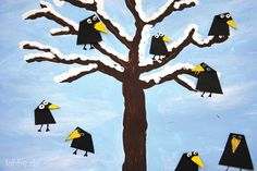 Jahreszeiten-Quadrama PDF - New Ideas Winter Art Projects, Winter Project, Winter Crafts For Kids, Art For Kids, Christmas Art, Winter Christmas, Preschool Crafts, Kids Crafts, Tree Crafts