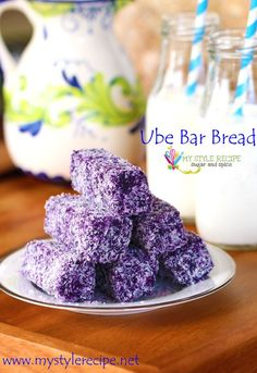 Moist and dense and full of flavor from purple yam, these Ube Bar Bread are coated in shredded coconut to give that special texture. Filipino Bread Recipe, Filipino Dishes, Filipino Desserts, Asian Desserts, Filipino Recipes, Filipino Food, Ube Recipes, Bakery Recipes, Dessert Recipes
