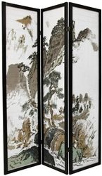 A black finished, matchstick room divider with a beautiful Japanese brush art rendering of a mountain landscape, printed on the front of the shades. Display as art screen, or use for privacy and to define space.