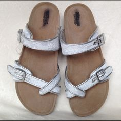 Sandals white and silver Brand new never worn sandals by Mossimo size 6 Mossimo Supply Co Shoes Sandals