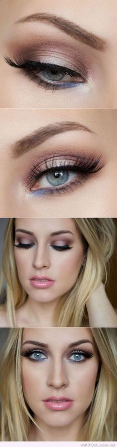 Brown and blue eye makeup for blue eyes