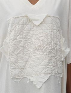 Embroidered t-shirt with quilted applique patch; creative sewing inspiration; fashion design detail // Cosmic Wonder