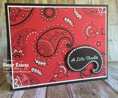I created my favorite bandana using the Paisleys & Posies stamp set from Stampin' Up!.
