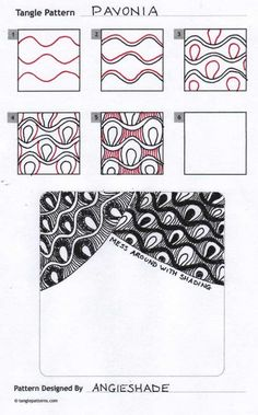 How to draw Angie Shade's Pavonia tangle pattern