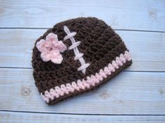 Crochet Baby Hat Baby Football Hat Girl Newborn by Monarchdancer, $20.00