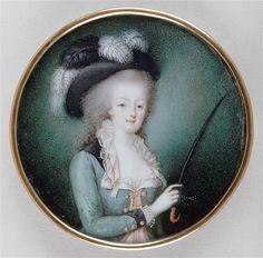 Vincenza Benzi-Bastéris, miniature portrait of Marie-Antoinette, 1784 [?], on ivory, 7.3 cm (Louvre)