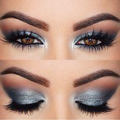 Graues Augenmakeup