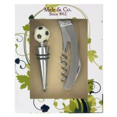 "Football Wine Stopper & Waiters Friend Cock Screw (G30) by Gifts For The Present by Gifts For The Present. $24.95. Cork screw, foil cutter, bottle opener.. Delivered in a clear fronted gift box - box measures: 6"" x 4.75"" x 1.25"" (15cms x 12cms x 3cms). A great gift for any football & wine lover!. Excellent quality stainless steel waiters friend & Football Wine Stopper. Football Wine Stopper & Waiters Friend Cock Screw Gift Set. Fottball Wine Stopper & Waiters Friend Cock Screw..."