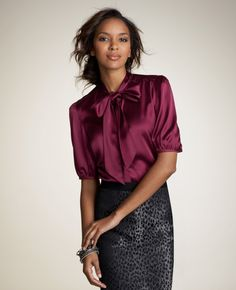silk Charmeuse Tie-neck blouse Ann Taylor