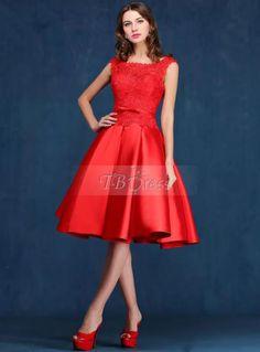 Tbdress A-Line Scoop Neck Lace Knee-Length Prom Dress