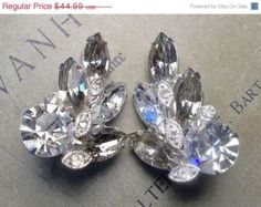 20% OFF Stunning EISENBERG Ice Vintage Smoky Topaz and Clear Crystal Rhinestone Clip Back Earrings