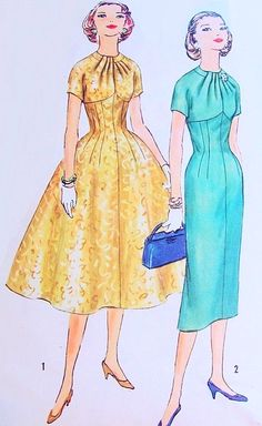 Lovely Slim or Full Skirt Dress Pattern Simplicity 1849 Empire line Stunning Draped Neckline Day or Evening Bust 34 Vintage Sewing Pattern-Authentic vintage sewing patterns: This is a fabulous original dress making pattern, not a copy. Dress Making Patterns, Vintage Dress Patterns, Vintage 1950s Dresses, Vintage Skirt, Clothing Patterns, Vintage Outfits, 1950s Fashion, Vintage Fashion, Full Skirt Dress