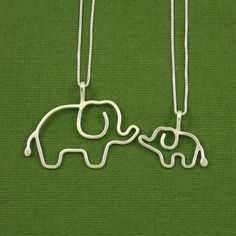Mother Baby Elephant Necklace Set Sterling Silver by Dragonfly65, $80.00