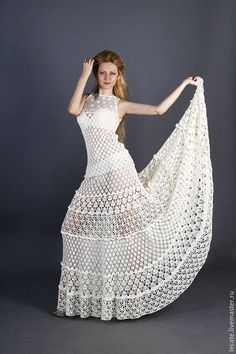 closet ideas fashion outfit style apparel white dress DISEÑO A CROCHET Crochet Shirt, Crochet Lace, Knit Dress, Lace Dress, Crochet Wedding Dresses, Crochet Dresses, Concert Dresses, Crochet Woman, Crochet Fashion