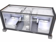 Prefab Cabins, Prefabricated Houses, Prefab Homes, Tv In Bathroom, Sleeping Pods, A Frame House Plans, Capsule Hotel, Casas Containers, Hotel Room Design