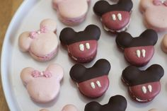 Mickey Mouse Macaron  Red macaron dipped in chocolate with sun butter buttercream filling