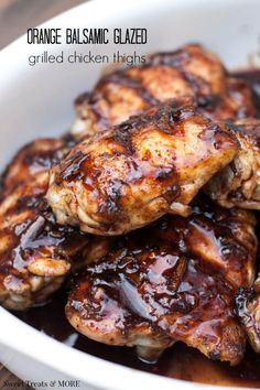 Orange Balsamic Glazed Grilled Chicken Thighs