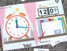 This printable clock is actually a file folder game you can create for free. In addition to a face clock, it includes a digital clock and a notepad to help teach time in numbers and words as well.