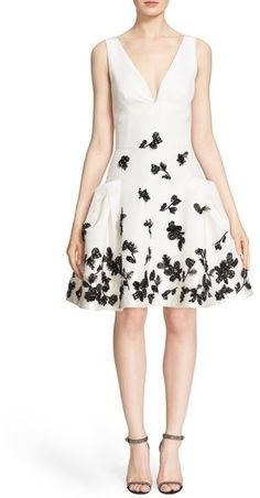 Carolina Herrera Floral Appliqué Fit & Flare Silk Dress