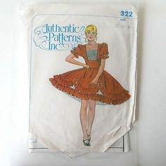 Square Dance Dress Pattern Ruffled Over Skirt Bodice Authentic 322 Cut as 14 16   eBay