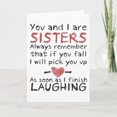 Diy Birthday Gifts For Sister, Little Sister Birthday, Homemade Birthday Gifts, Best Friend Birthday Cards, Best Friend Cards, Cute Birthday Cards, Birthday Greeting Cards, Gifts For Little Sister, Birthday Card Quotes
