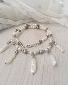 a676908ee Mermaid Princess freshwater and biwa pearl necklace with sterling silver.  Biwa pearl necklace. Grey and white pearl necklace. Hand made