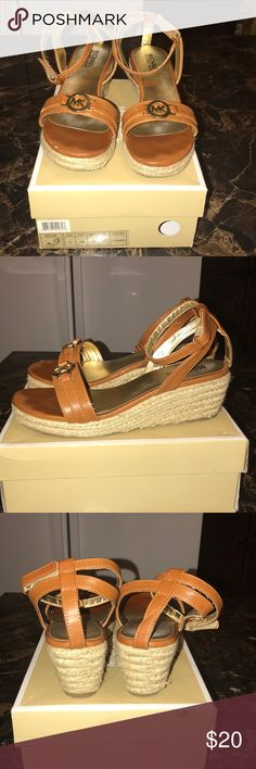 MK Sandals Brown/gold, little heel, great condition, minor chip on top Michael Kors Shoes Heels