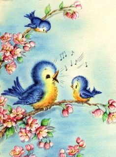 Bluebirds and Apple Blossoms Birthday Digital Art Downloadable Printable Image