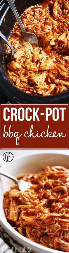 Easy Crock-Pot BBQ Chicken - Seriously one of the easiest and most delicious recipes I have ever made! You will be blown away by the flavor in this chicken that comes from just a few simple steps. Slow Cooker Recipes, Cooking Recipes, Gluten Free Recipes Crock Pot, Simple Crock Pot Recipes, One Pot Recipes, Simple Food Recipes, Smoker Recipes, Rib Recipes, Paleo Recipes