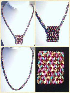 Súpravu náhrdelník s príveskom, náramok a náušnice som šila z korálok superduo a toho.
