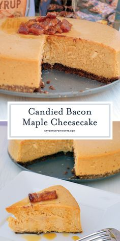 Candied Bacon Maple Cheesecake is made up of a maple cheesecake topped with candied bacon and a Salted Caramel Brownie Brittle ™ Crust! This decadent cheesecake recipe is a dessert no one can resist! Homemade Cheesecake, Low Carb Cheesecake, Easy Cheesecake Recipes, Best Dessert Recipes, Easy Desserts, Sweet Recipes, Delicious Desserts, Maple Bacon Cheesecake, Frosting Recipes
